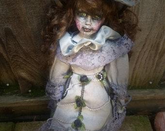Creepy Victorian doll, ooak doll,