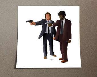 Vincent Vega and Jules Winnfield from Pulp Fiction Poster Design, a pop culture iconic film directed by Quentin Tarantino in Los Angeles