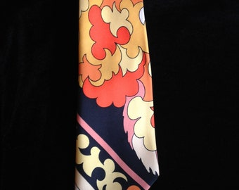 Vintage 70s Emilio Pucci Tie--Orange--Black--Yellow