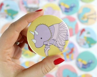 Ballet dinosaur, badge, safety badge, pocket mirror, keyring, bottle opener, magnet, mirror, dinosaur, gift for her, gift for kids