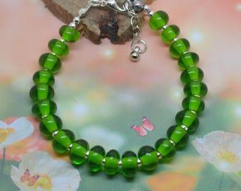 Silver-Green Lampwork Glass Beads Bracelet!