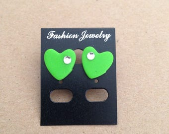 Polymer clay green heart earrings