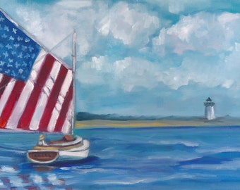 Flag on parade, oil painting, americana, seascape