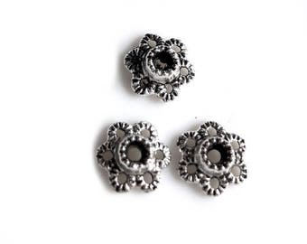 Pack of 125 caps 6 mm antique silver bead