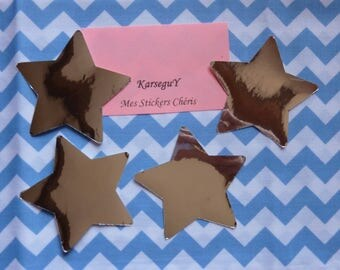 Set of 4 stars mirror effect stickers