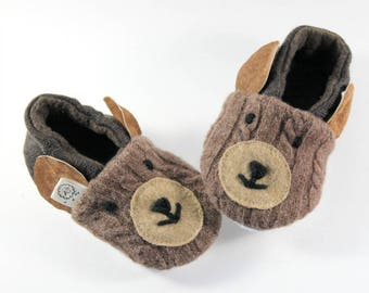Toddler Easter Gift- Little Kids Gift- Bear Slippers- Animal Slippers- Baby Bear Outfit- Hygge Gift- Toddler Slippers- Baby Shoes- Natural