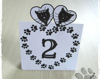 Wedding table number card, Center table, tribe of cats