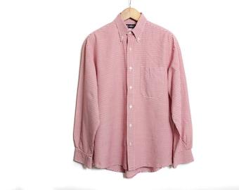 Mens dress shirt, Red man shirt, Checkered shirt, Vintage shirt, Button up shirt, Dress shirt, Long sleeves shirt, Plaid shirt /Medium Large