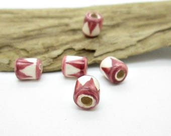 Small Tube Spacer Bead, Peru Ceramic Bead, Ceramic Spacer Bead, Large Hole Bead, Mauve Drum Bead 7x5mm (5)