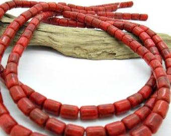 Coral Barrel Bead, Orange Coral Barrel, Orange Red Coral, Mediterranean Coral, Apple Coral Bead 8x6mm (25)