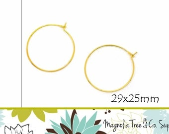 Gold Wine Rings, DIY Earring & Wine Rings, Gold Plated Wine Glass Charm Rings, Earring Hoops 29x25mm, Bent End, 100 pcs (WR003)