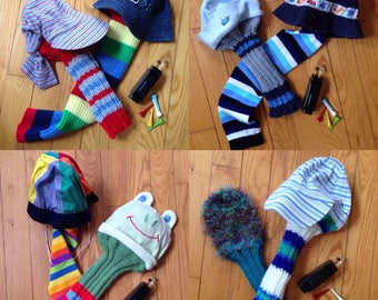 "Gift Paired Golf Head Covers- Whimsical, Up cycled and Fuzzy Knit Matched Sets of Two, ""Special Prices."""