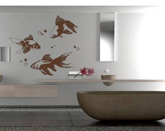 20% OFF Summer Sale Goldfish animal wall decal, sticker, mural, vinyl wall art