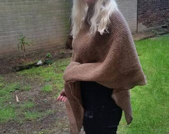 Mohair poncho Brown