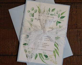 Eucalyptus Wedding Invitation, Blue Wedding Invitation, Lace Wedding Invitation, Floral Wedding Invitation, Greenery Wedding Invitation