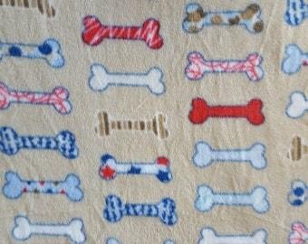 Dog Bones on Tan Fleece Fabric (1.5 yards)