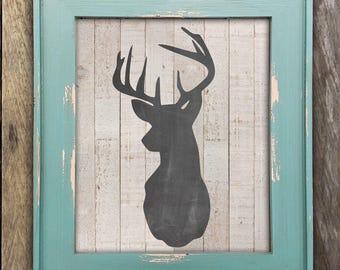 Fixer Upper Decor, Rustic Deer Head Print, Farmhouse Wall Decor, Wood Wall Art, Modern Farmhouse, Deer Nursery Decor, Rustic Wall Decor