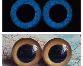 18mm Glow In The Dark Eyes, Metallic Dark Gold Safety Eyes With Blue Glow, 1 Pair Of Glow In The Dark Safety Eyes