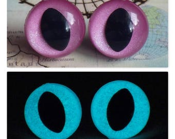 12mm Glow In The Dark Cat Eyes, Sparkly Pink Safety Eyes With Aqua Glow, 1 Pair Of Glow In The Dark Safety Eyes