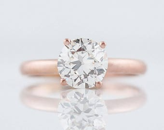 Engagement Ring Modern 1.28 Old European Cut Diamond in 14k Rose Gold