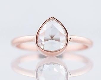 Engagement Ring Modern 1.27 Rose Cut Diamond in 14k Rose Gold
