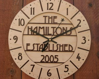 Arts and Crafts Style Custom Family Name Clock