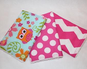 Owl Burp Cloth Set, Burp Cloths, Burp Rags, Burp Cloth Set, Girl Burp Cloths