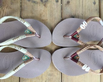 colorful sun-loving Havaianas flip flops. woman beach sandal. summer sandal for women.