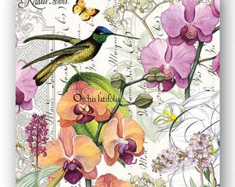 Two (2) Luncheon Napkins for Decoupage and Paper Crafts-Orchids-Birds