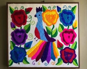 Vintage embroidered bird/flowers framed on muslin OOAK