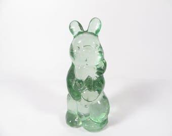 Vintage Green Glass Bunny Rabbit  - Green Glass Rabbit