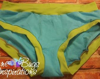 XXS-XXXL Aqua & Lime Bunzies - super booty - custom underwear - cotton panties - Bunzies - Solid Bunzies - solid full coverage bunzies