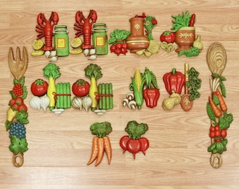 1976 Home Interior Homco Fruits and Vegetables Kitchen Decor Wall Hangings-11Pcs