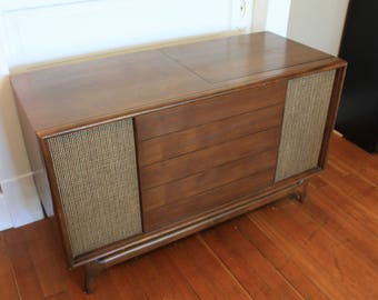 Wood Record Cabinet with Grass Cloth Speakers - Mid- Century Modern