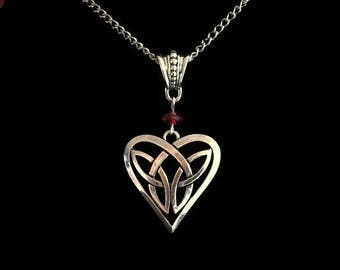 Outlander Inspired, Celtic Heart Necklace with Crystal
