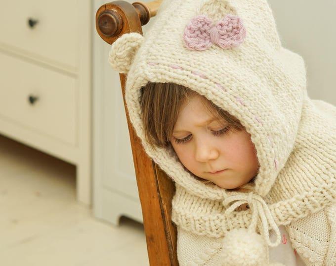 Knitted polar bear hooded cowl Popi (toddler size)