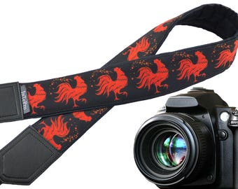 Camera strap with red roosters. Chicken. Birds.  Padded camera strap. Black and red. Camera accessory. Father's Day gift.