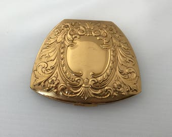 Vintage Embossed ELGIN AMERICAN Compact 1950s Gold Mirror Powder Compact Carried by Ladies in their handbags throughout 1950s to Powder Nose