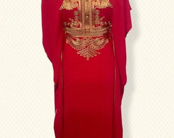 Summer sale Red Moroccan kaftan Maxi Dress with gold embroidery