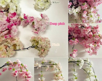 Natural Vertical Silk Cherry Blossom For Wedding Decoration DIY Cherry  Trees Artificial Flower Bouquet