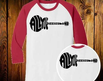 All you need is love valentines day guitar Raglan shirt