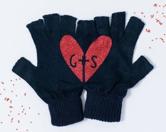 Valentines heart red glitter couples gloves