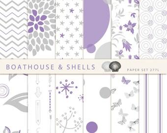 PURPLE & GREY SUMMER Digital Scrapbooking Paper, digital design scrapbook paper in purple, grey and white, download, printable - 277L