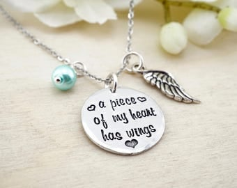 A piece of my heart has wings necklace - memorial necklace - memorial gift - memorial pendant - loss of loved one - funeral gift - loss gift