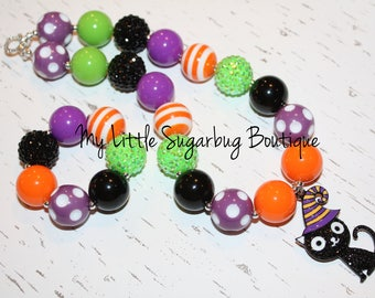 Halloween Cat Chunky Necklace-Cat Necklace-Halloween Chunky Necklace-Bubblegum Necklace-Baby-Toddler-Girls