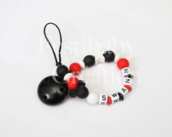 """Pacifier clip personalized silicone beads - model """"Swann"""""""
