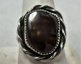 Fire Agate Ring Size 9 1/4 Sterling Silver Fire Agate Jewelry Fire Agate Cabochon Natural Fire Agate Stone Handmade Ring Southwest Ring #273