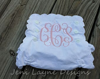 Monogrammed Bloomers- Monogrammed diaper cover, white diaper cover, white bloomers