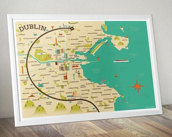 Dublin Map Illustration (32.1cm x 45.2cm)