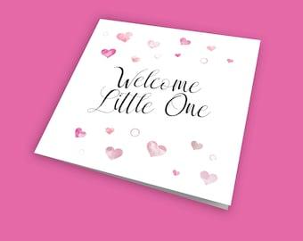 Welcome Little One, New Baby Girl Card, Birth Card, Newborn Card, Colourful Card